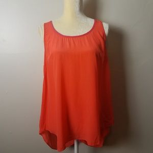 Anthropologie Maeve silk orange and pink top